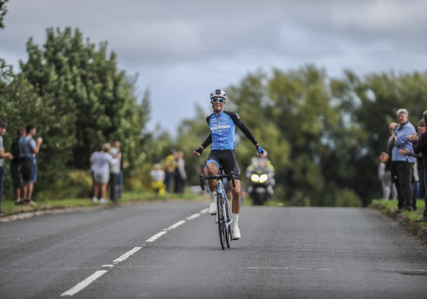Hardwick, Ebbw Vale, Blaenau Gwent, 26th August 2018.  Stage 4, 92.4km / 57.4mile flat Road Race - SD Sealants Junior Tour of Wales 2018. Samuel Watson, PH? MAS/Paul Milnes Cycles crosses the line to win.