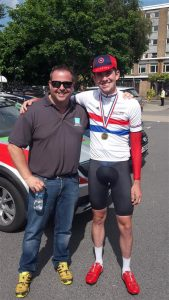 SD Sealants MD Nick Jones congratulates Scott Davies on his hat trick of British Under 23 Time Trial wins